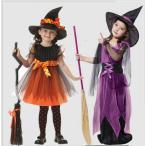 ハロウィン コスプレ 魔女 子供 女の子 衣装 仮装 可愛い 帽子 タイツ付き ドレス ワンピース キッズ ウィッチ 魔女っ娘  巫女