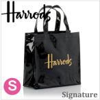 送料無料/HARRODS ハロッズ 正規品 PVC トートバック Sサイズ Mサイズ Harrods Signature Shopper Bag 黒 裏地付