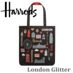 送料無料/ハロッズ 正規品,コットン トートバッグ ショッピングバッグ 裏地付 Harrods Doodle London Tote Bag マザーズバック