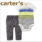 送料無料/カーターズ Carter's 正規品 ポロシャツ,ボディスーツ+パンツの2点セット☆黄緑ボーダー☆