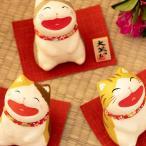 招き猫 置物 縁起飾り 祝 開店祝い新築祝い ちぎり和紙 大笑い猫(A_三毛猫 B_トラ猫 C_グレー猫) 福猫 金