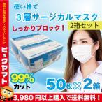 サージカルマスク 在庫あり 即出荷 マスク50枚 不織布 使い捨て 飛沫ウイルス 花粉 立体 プリーツ 高密度 フィルター 三層サージカルマスク 50枚入 2箱セット