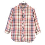 コーエン チェック柄 七分袖 シャツ M coen 刺繍 丸襟 レディース 古着 201030 メール便可