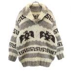 カウチン ニット プルオーバー ウールジャケット 白×茶  鳥 メンズ 古着 201121