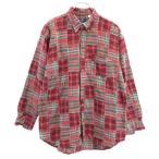 パッチワーク チェック柄 長袖 ボタンダウンシャツ LL 赤 CANY JEANS メンズ 古着 200930