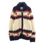 カナタ カナダ製 カウチンセーター 柄入 ウールジャケット アイボリーx紺 KANATA ショールカラー メンズ 古着 210127
