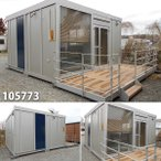 105773 中古 格安現状販売 4.6m 2連棟デッキ付ユニットハウス コンテナ プレハブ 倉庫 物置 小屋 DIY