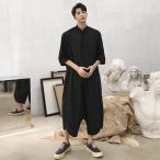ハーフスリーブ 半袖 つなぎ オールインワン オーバーオール ジャンプスーツ サロペット ゆったり メンズ メンズファッション  無地 韓国