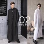 ロング丈 シャツ サイドスリット ボタンダウン モノトーン ライト コート メンズ モードストリート モードミックス カジュアル メンズファッション