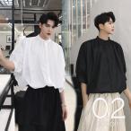 デザインバンドカラーシャツ プリーツ ショートスリーブ ノーカラー 半袖 ボタンダウン ゆったり メンズ メンズファッション 韓流 韓国ファッション ストリ