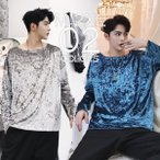 ショッピングカットソー デザインカットソー 光沢 ロンティー ロンT ロングスリーブ 長袖 メンズ メンズファッション  無地 韓国ファッション ストリート系  カジュアル