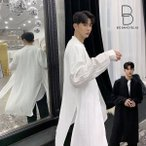 ノーカラー ロング丈 デザインシャツ ゆったり 襟ない 襟なし サイドスリット 春コート モード系 韓流 韓国 ファッション メンズ サロン系 原宿系