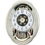 RHYTHM リズム時計 クロック 電波掛け時計 からくり時計 スモールワールドブルームF 4MN500RA18