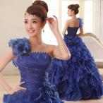 カラードレス ウェディングドレス ロングドレス 演奏会 コンサート 舞台衣装 大きいサイズ ワイン ブルー