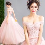 ウェディングドレス ロングドレス 二次会ドレス パーティードレス 演奏会 結婚式 大きいサイズ ワンピース  ピンク