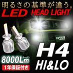 H4(Hi&Lo) 瞬間点灯 ノイズフリー 8000ルーメン LEDヘッドライト 6500K LEDバルブ 1年保証 2個セット