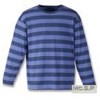 大きいサイズ メンズ Mc.S.P 長袖ボーダーTシャツ 3L