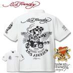 ショッピングhardy 大きいサイズ メンズ ED HARDY(エドハーディー) 鹿の子刺繍&プリント半袖ポロシャツ 3L 4L 5L 6L 8L