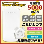 スマートフォン・携帯電話対応 5000mAh リチウムイオンカルテット充電器 (4in1コネクタ・USBケーブル付) BSC-5000WH4CT (激安メガセール!)