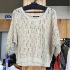【お手頃価格♪】INGNI INGNI ベージュの透かし編みの七分袖ニット