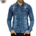 ダンガリーシャツ デニムシャツ メンズ 長袖シャツ ダメージ クラッシュ ブルー