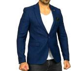 テーラードジャケット メンズ ブレザー チェック 青 ブルー ジャケパン 一つボタン スリムシルエット タイト