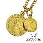 SHUMAIL(シュメール) ネックレス メンズ ダブル ゴールド コイン ペンダント シンプル ブランド ステンレススチール316L PVD アクセサリー ブラス(真鍮)