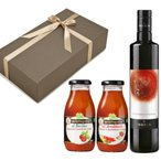 【箱代込・ラッピング代込】オーガニックの調味料セット(EXVオリーブオイル イエモロ ビアンコリッラ[500ml]+トマトソース[250g]x2本)【常温便】