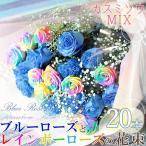 ブルーローズ 花束 オランダ産高級ブルーローズとレインボーローズ20本にカスミソウ3本の花束 お祝い ギフト