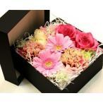 フラワーボックス 生花 アレンジメント バラ や ガーベラ (ピンク) ギフト