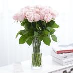 花瓶フラワー・フラワーベース シリンダー(クリア) ピンクバラ30本