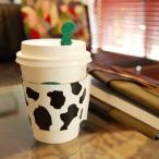 色が選べる!牛さん柄のレザーカップスリーブ(ショートサイズ) 本革 日本製
