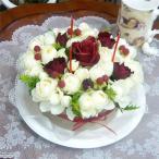 フラワーケーキ・ホワイト&レッドローズ(クール便サービス)
