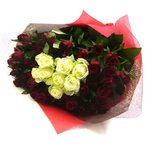 バラの花束/赤バラ50本・白バラ10本花束&ブーケ