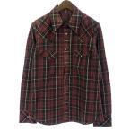 バックラッシュ/BACKLASH チェックプリントピッグレザーシャツ サイズ メンズ 3 パープル系 ランクA 101 81E17 (中古)