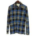 バックラッシュ/BACKLASH チェックプリントピッグレザーシャツ サイズ メンズ 2 ブルー ランクA 101 61E17 (中古)