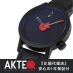 腕時計 レディース ブランド カジュアル おしゃれ メンズ アクテオ AKTEO 牛革 革 グッズ レッド ギター 時計 フランス製 送料無料 RED GUITAR 42mm ブラック