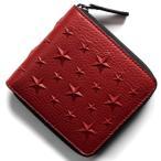 ジミーチュウ 二つ折り財布 財布 メンズ レディース ローレンス エンボスド スターズ レッド LAWRENCE EMG 183 RED JIMMY CHOO