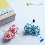 ピンブローチ レディース 真珠 アコヤ真珠 水引 ピンバッジ 花 和風 2
