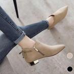 ブーティー レディース アンクルブーツ 太ヒール ショートブーツ ポインテッドトゥ ブーツ ローヒールシューズ 安定感 美脚 通勤 シューズ 婦人靴