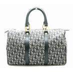 (バッグ)Christian Dior クリスチャン ディオール トロッター ボストンバッグ ハンドバッグ レザー ネイビー 紺 ゴールド金具 (k)