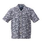 【大きいサイズ】【メンズ】 OUTDOOR 総柄リップル半袖リゾートシャツ ネイビー 1157-7203-2 [3L・4L・5L・6L・8L]
