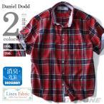 ショッピング大きいサイズ 大きいサイズ メンズ DANIEL DODD 綿麻チェック半袖ボタンダウンシャツ 消臭テープ付 春夏新作 azsh-170221