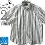 大きいサイズ メンズ Bowerbirds Works 半袖 ストライプ柄 ボタンダウン シャツ azsh-190232