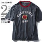 大きいサイズ メンズ DANIEL DOOD ピーチ加工デザイン半袖Tシャツ CALIFORNIA azt-1502181