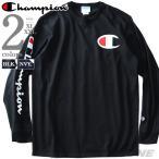 大きいサイズ メンズ Champion チャンピオン ビッグロゴ プリント 長袖 Tシャツ USA直輸入 gt47-y07789