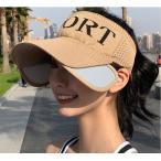 サンバイザー フェイスガード付き ニット素材 日焼け防止 帽子