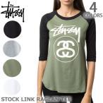 ステューシー/STUSSY レディース トップス ラグランSTOCK LINK RAGLAN TEE 214362 ストックリンク 長袖Tシャツ BLACK/WHITE/OLIVE/GREY HEATHER