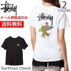 ステューシー/STUSSY 2902892 レディース トップス ボーイフレンドTシャツ  Surfman Check Boyfriend Tee ロゴ  スケーター 半袖Tシャツ WHITE/BLACK【
