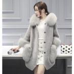 レディース フェイクファーコート 毛皮コート ミティマム丈 フード付き ファーアウター ジャケット 秋冬 暖かい 防寒 大きいサイズ 2色